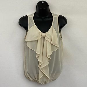 6 Degrees Sheer Cream Sleeveless Blouse Sz S N-83